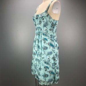 Kensie 100% Silk Aqua Paisley Dress Sz M